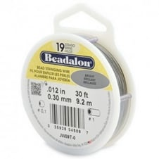Beadalon Beading Wire 19 Strand 0.30mm (.012in) - Bright - 9.2m (30ft)