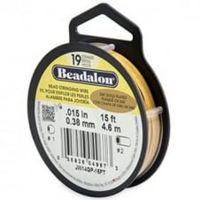 Beadalon Beading Wire 19 Strand 0.38mm (.015in) - 24K Gold Plated - 4.6m (15ft)