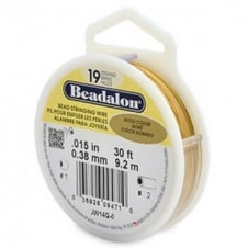 Beadalon Beading Wire 19 Strand 0.38mm (.015in) - Gold Colour - 9.2m (30ft)