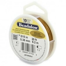 Beadalon Beading Wire 19 Strand 0.38mm (.015in) - Satin Gold - 9.2m (30ft)
