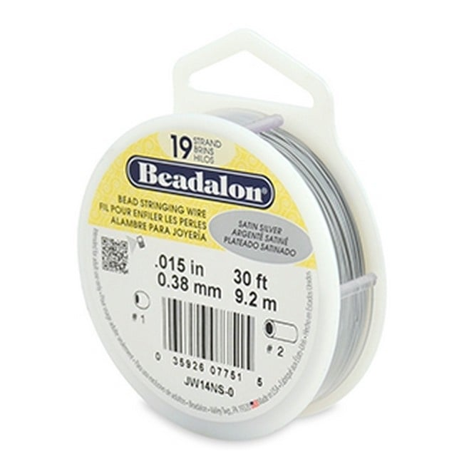 Beading Wire 19 Strand 0.38mm (.015in) - Satin Silver - 9.2m (30ft)