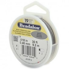 Beadalon Beading Wire 19 Strand 0.46mm (.018in) - Bright - 9.2m (30ft)