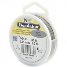 Beadalon Beading Wire 19 Strand 0.61mm (.024in) - Bright - 9.2m (30ft)