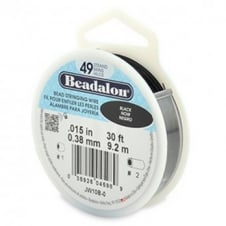 Beadalon Beading Wire 49 Strand 0.38mm (.015in) - Black - 9.2m (30ft)