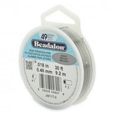 Beadalon Beading Wire 49 Strand 0.46mm (.018in) - Bright - 9.2m (30ft)