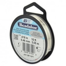 Beadalon Beading Wire 49 Strand 0.46mm (.018in) - Silver Plated - 3.1m (10ft)