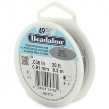 Beadalon Beading Wire 49 Strand 0.91mm (.036in) - Bright - 9.2m (30ft)