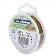 Beadalon Beading Wire 7 Strand 0.38mm (.015in) - Antique Satin Brass - 9.2m (30ft)