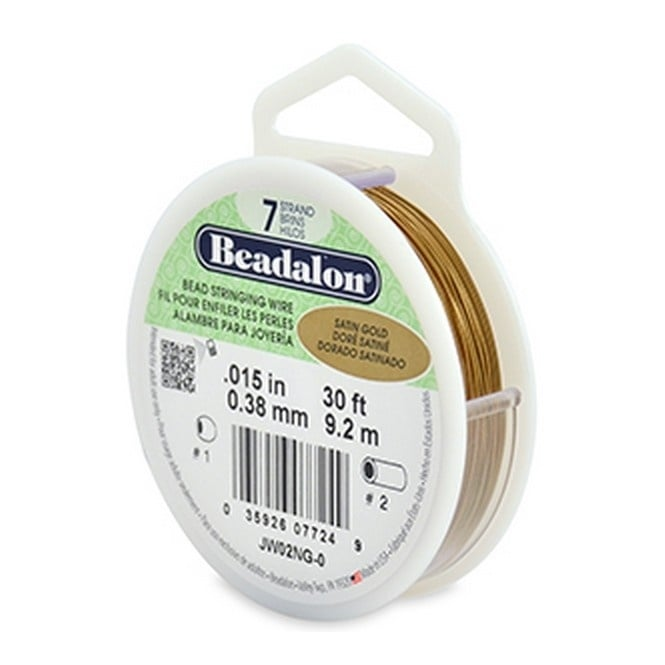 Beading Wire 7 Strand 0.38mm (.015in) - Satin Gold - 9.2m (30ft)