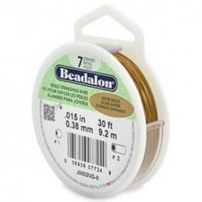Beadalon Beading Wire 7 Strand 0.38mm (.015in) - Satin Gold - 9.2m (30ft)