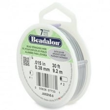 Beadalon Beading Wire 7 Strand 0.38mm (.015in) - Satin Silver - 9.2m (30ft)