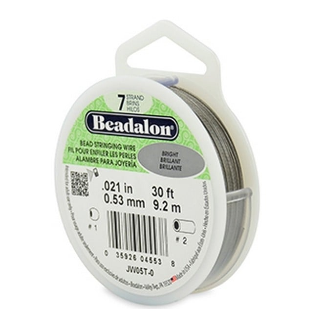 Beadalon Beading Wire 7 Strand 0.53mm (.021in) - Bright - 9.2m (30ft)