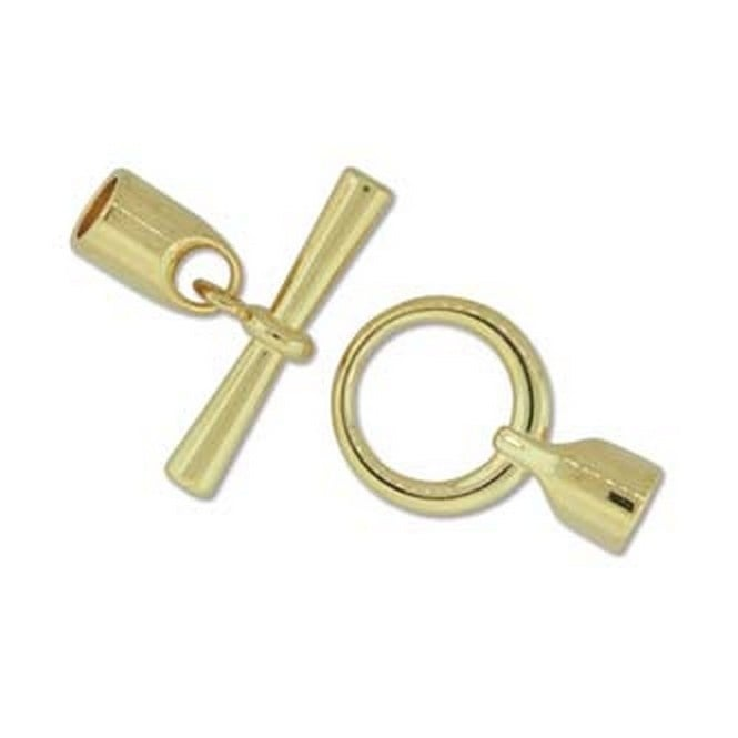 Beadsmith 19mm Round Glue In Toggle - 6.2mm - Gold Plated - 1pk
