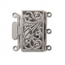 21mm Rectangle Filigree Box Clasp - Silver Plated - 1pk