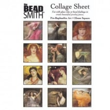 Beadsmith 23mm Square Collage Sheet - Pre-Raphaelite Art