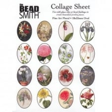 Beadsmith 25x18mm Oval Collage Sheet - Fine Art Floral