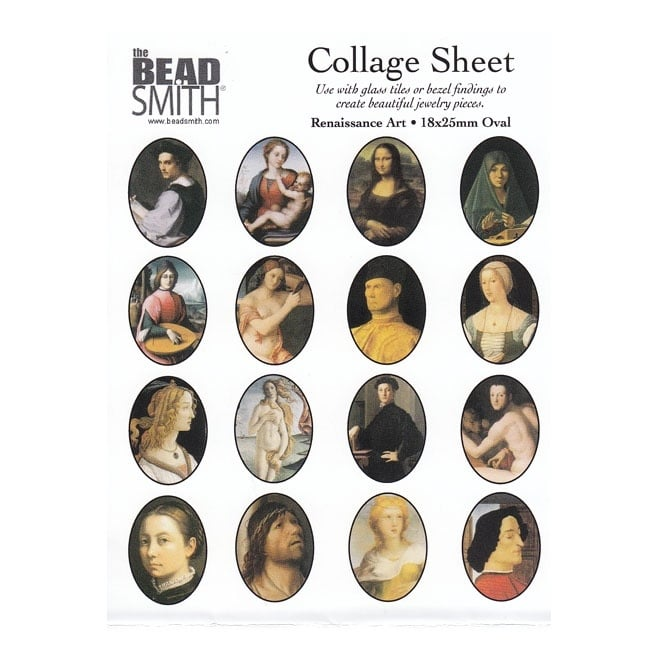 25x18mm Oval Collage Sheet - Renaissance Art