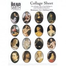 Beadsmith 25x18mm Oval Collage Sheet - Renaissance Art