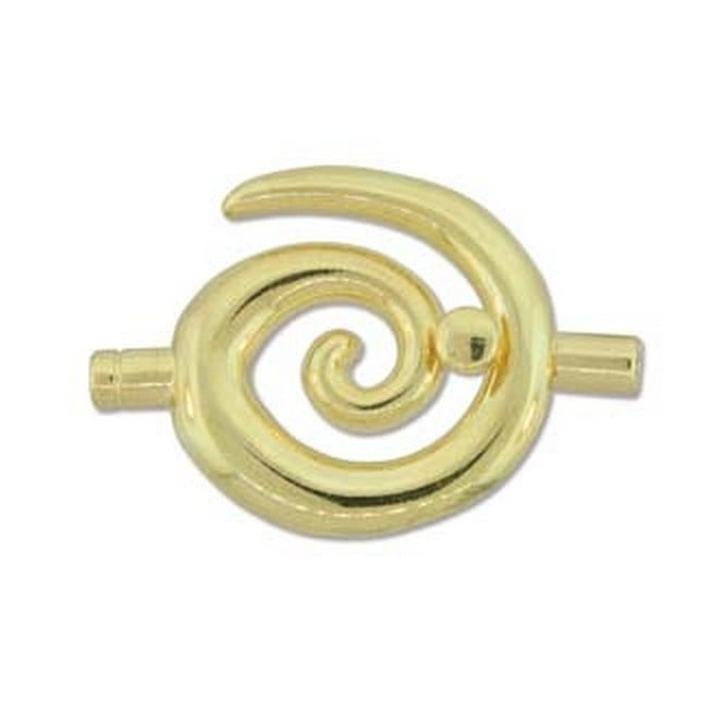 Beadsmith 34x35mm Large Swirl Glue In Toggle - 3.2mm - Gold Plated - 1pk