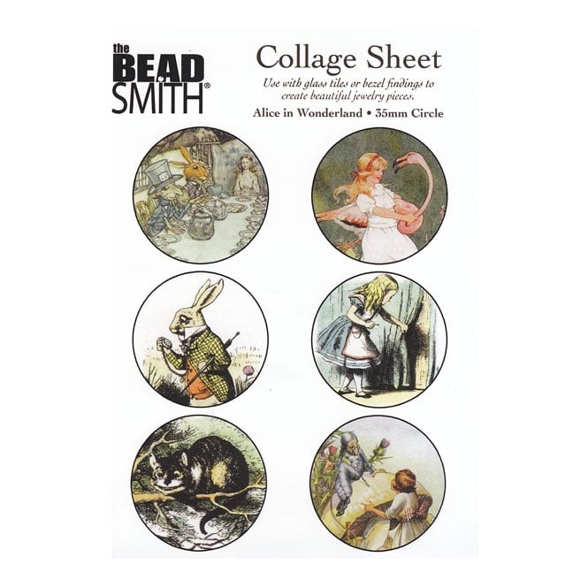 Beadsmith 35mm Circle Collage Sheet - Alice in Wonderland