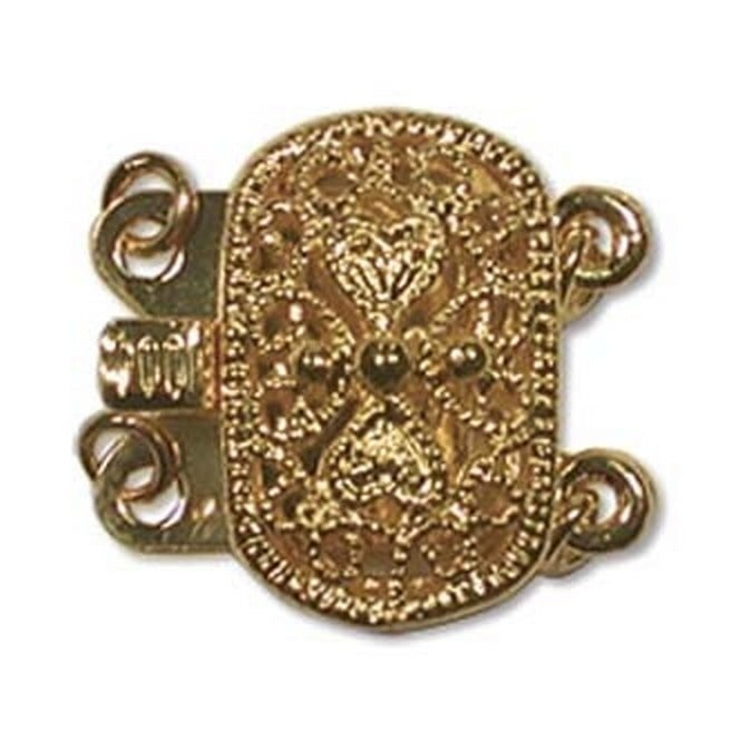 9x14mm Oval Filigree Push Pull Clasp - Gold Plated - 1pk