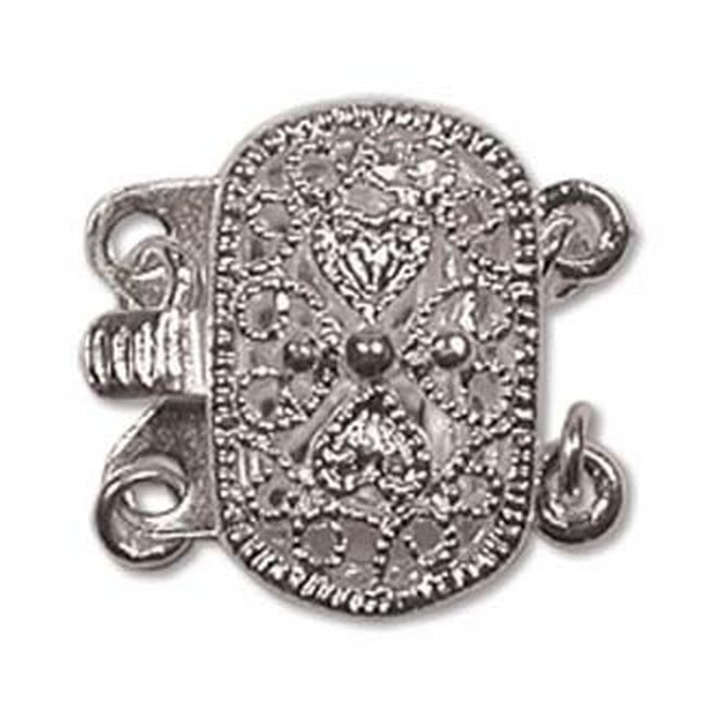 9x14mm Oval Filigree Push Pull Clasp - Silver Plated - 1pk