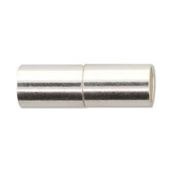 Beadsmith Magnetic Tube End Cap Clasp (6.2mm Hole) - Silver Plated - 1pk