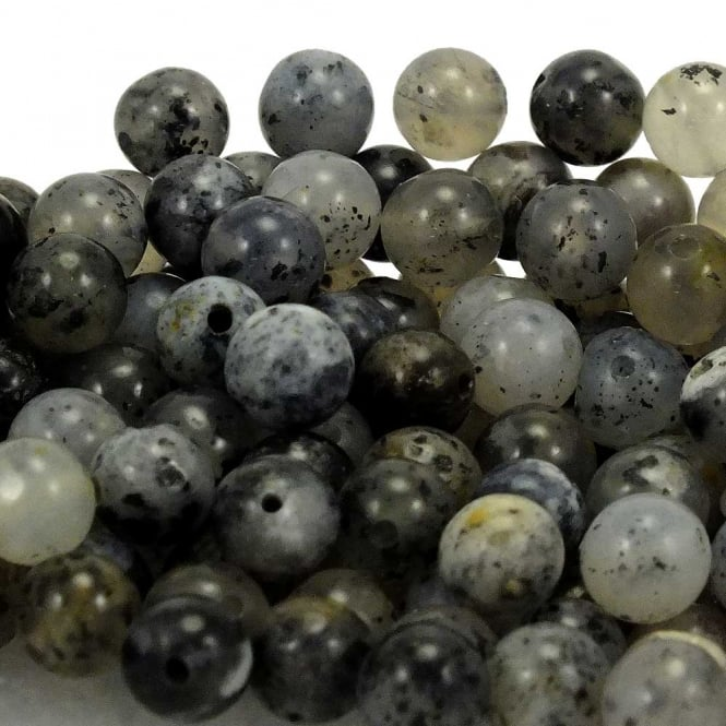 Black Moss Agate Round Gemstone Beads 6mm - 10pcs