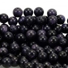 Blue Goldstone Round Gemstone Beads 6mm - 10pcs
