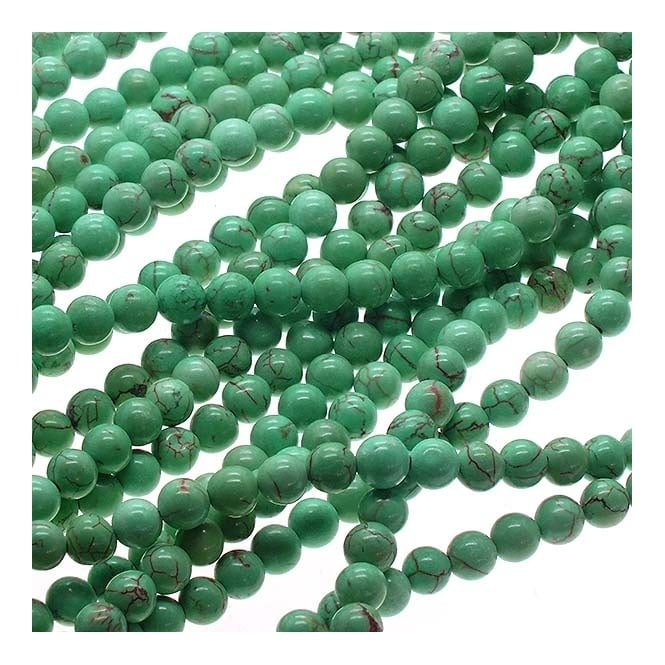 "Blue Turquoise Round Beads 6mm - 15.5"" Strand"