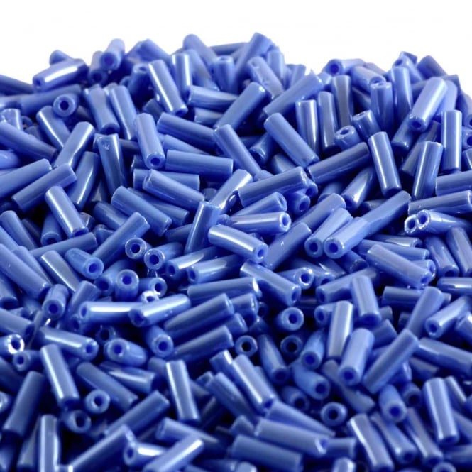 Bugle Beads Czech Glass Size 3 (6mm) - Opaque Luster Blue - 20g