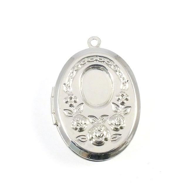 Cameo Mount Rose Locket Pendant - Silver Plated - 1pk