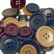 Coat Buttons Plastic 4 Hole - Mix Size & Colours - 20pk