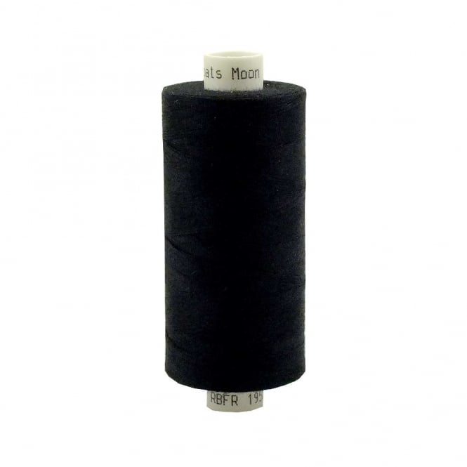 Coats Moon Spun Polyester Sewing Thread 1000 Yards - Black