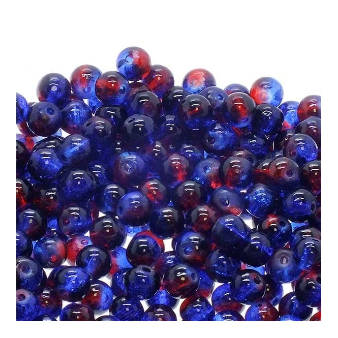 Crackle Glass Round Beads 6mm - Blue/Red - 50pk