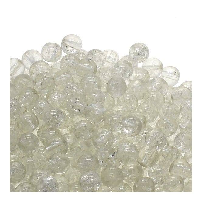 Crackle Glass Round Beads 6mm - Crystal - 50pk