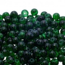 Crackle Glass Round Beads 6mm - Emerald - 50pk