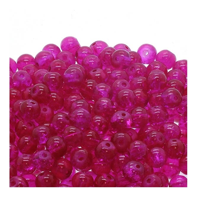 Crackle Glass Round Beads 6mm - Fuchsia - 50pk