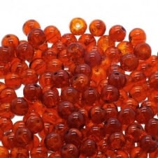Crackle Glass Round Beads 6mm - Orange - 50pk