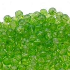 Crackle Glass Round Beads 6mm - Peridot - 50pk