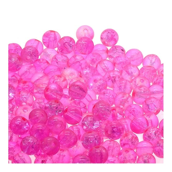 Crackle Glass Round Beads 6mm - Pink - 50pk