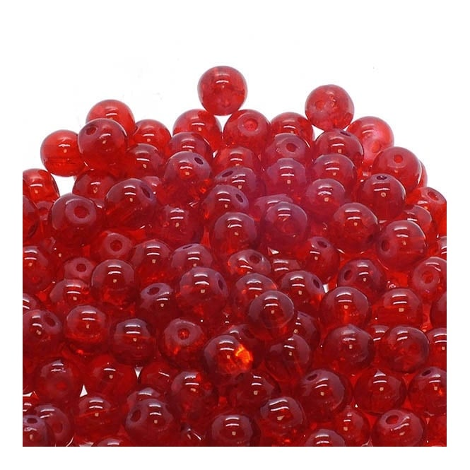 Crackle Glass Round Beads 6mm - Red - 50pk