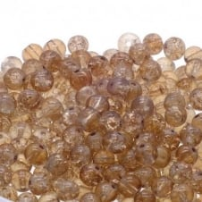 Crackle Glass Round Beads 6mm - Toffee - 50pk