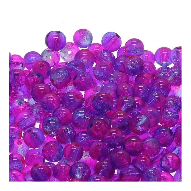 Crackle Glass Round Beads 8mm - Fuchsia/Lilac - 50pk