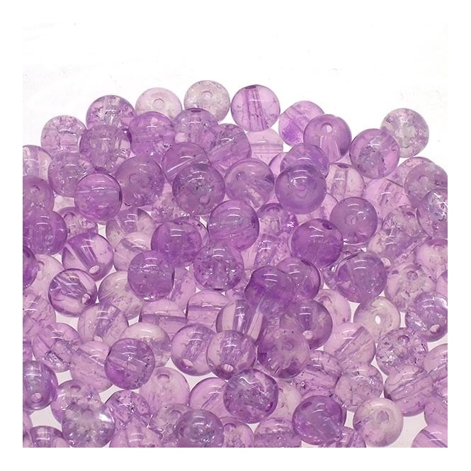 Crackle Glass Round Beads 8mm - Lilac - 50pk