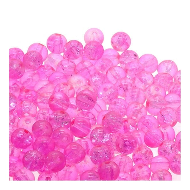 Crackle Glass Round Beads 8mm - Pale Pink - 50pk
