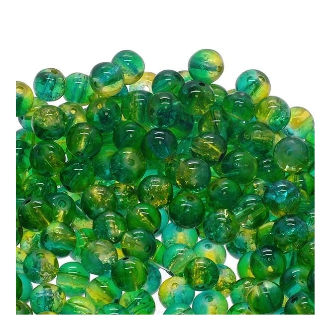 Crackle Glass Round Beads 8mm - Peridot/Teal - 50pk