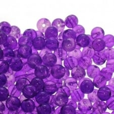 Crackle Glass Round Beads 8mm - Purple - 50pk