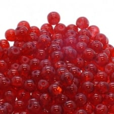 Crackle Glass Round Beads 8mm - Red - 50pk