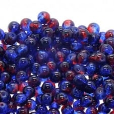 Crackle Glass Round Beads 8mm - Red/Blue - 50pk
